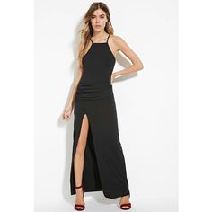 Forever 21 Women's  Ruched High-Slit Maxi Dress ($25) ❤ liked on Polyvore featuring dresses, ruched dress, padded cami, forever 21 dresses, white dress and cami dress