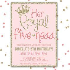 Her Royal Fiveness Princess Birthday Invitation Fifth Printable Girl Party