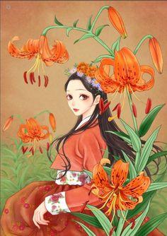 Korean Illustration, Illustration Art, Creative Pictures, Art Pictures, Girls With Flowers, Korean Art, Anime Scenery, Beauty Art, Beautiful Paintings
