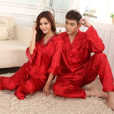 Womens&Mens Silk Pajamas Set Sleepwear&Robes Nightdress Nightgown P050 L,Xl