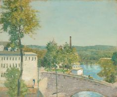 "Julian Alden Weir, ""U.S. Thread Company Mills, Willimantic, Connecticut,"" c. 1893/1897, oil on canvas, National Gallery of Art, Washington."