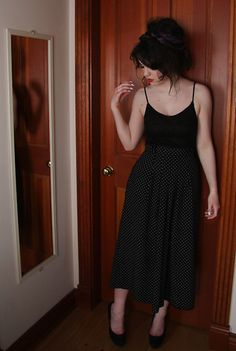 Vintage Hair Scarf, Vintage Ring, Costa Blanca Sleeveless Top, Dotted Wide Leg Trousers, Aldo Suede Pumps