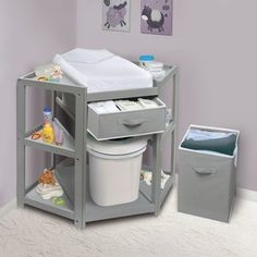 Badger Basket Diaper Corner Baby Changing Table with Pad and 1 Basket with Hamper Color: Gray Baby Nursery Diy, Baby Boy Rooms, Baby Room Decor, Baby Boys, Nursery Ideas, Baby Basinets, Baby Room Diy, Kids Rooms, Baby Changing Tables