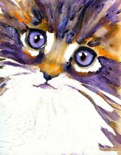 Whimsical cat art in watercolor by Lori Alexander Watercolor Cat, Watercolor Animals, Watercolor Paintings, Watercolors, Kitty Face Paint, Cat Posters, Pastel, Animal Paintings, Cat Art