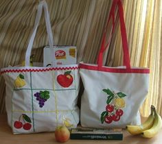 Advanced Embroidery Designs. Shopping Canvas Totes with Appliqué Embroidery.