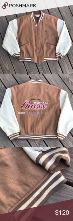 VINTAGE 90's GUESS LETTERMAN JACKET MEN'S M RARE etails: Great condition! Item has a few minor defects, please see photos. Jacket is still in great wearable condition. Deadstock item. Brown & tan jacket. Guess logo on left torso. Full zip. 2 front pockets. Inside pocket. Guess big logo on back of jacket. MEASUREMENTS FURNISHED UPON REQUEST! *Ships from US. *Same or next day shipping. *First-Class US shipping (delivery in 1 to 3 business days). *First-Class International shipping (delivery in…