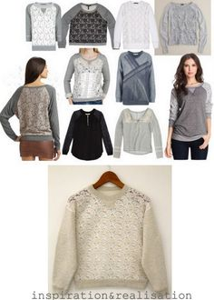 DIY sweatshirt refashion with lace