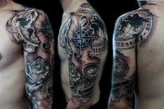 Compass Map Half Sleeve Tattoos For Men