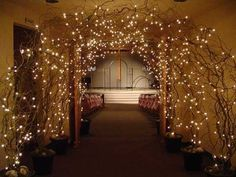lighted curly willow archway (entrance for a wedding reception? Trendy Wedding, Perfect Wedding, Fall Wedding, Our Wedding, Dream Wedding, Indoor Wedding, Forest Wedding, Garden Wedding, Wedding Lighting Indoor