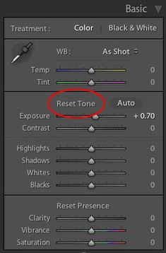 Resetting Lightroom sliders the easy way