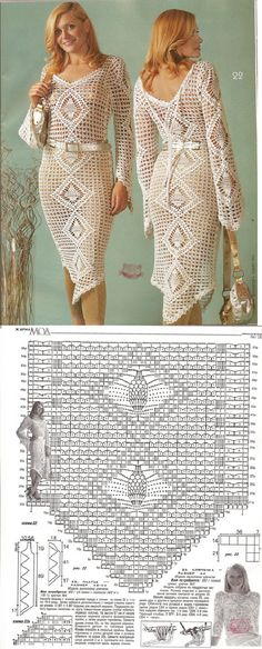 crochet dress - with diagrams Crochet Skirts, Crochet Tunic, Filet Crochet, Crochet Clothes, Crochet Lace, Crochet Tops, Crotchet Dress, Knit Dress, Clothing Patterns