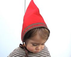 Toddler Gnome Hat-Red Woodland Elf Costume-Pixie Hat-Double Thick Baby Bonnet-Fall Winter Kids Accessory Photo Prop