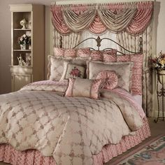 Enjoy peaceful sleep in the embrace of Floral Trellis Comforter Bedding. Oversized, jacquard-woven, polyester comforter has a floral trellis pattern in rose blush and jade green on a bisque ground. Pink Bedrooms, Shabby Chic Bedrooms, Home Bedroom, Bedroom Decor, Dream Bedroom, Master Bedroom, Deco Rose, Victorian Bedroom, Beautiful Bedrooms
