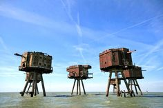 Shivering Sands Maunsell Army Fort- The UK built these sea towers off the coast of England for the Second World War. Originally used for anti-aircraft defence, the Shivering Sands Maunsell towers now stand silently over the water.