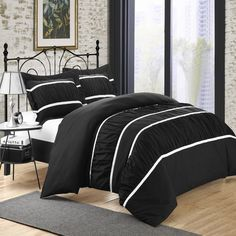 Betsy Black 3 Piece Ruffled Duvet Cover & Shams Set Set