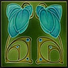 TH3099 Superb Blue Flowers Embossed Art Nouveau Majolica Tile Barratt Rd.1907