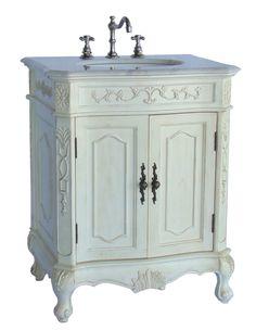 Adelina 28 Inch Antique Bathroom Vanity White Finish