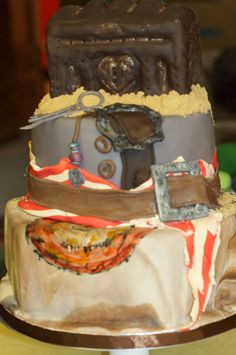 pirates of the Caribbean birthday cake with hand made chest hand painted map and belt.