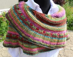 Simple Pleasures. We need more of them. Easy to knit, this crescent shaped shawl, which has a garter st edging, alternating sections of stockinette and garter stitch, ending with a wide expanded ribbe