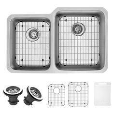 Vigo VG3221RK1 Double Basin Undermount Kitchen Sink Set - VG3221RK1