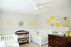 Yellow and Gray Twins Nursery