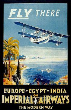 Europe Egypt India Imperial Airways Poster - Print