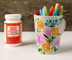 Create a beautiful watercolor flower DIY Sharpie mug that looks like hand painted Anthropologie ceramics! Video tutorial plus tips on durable finishes.