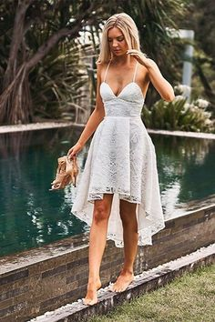 A-Line Spaghetti Straps White Lace High Low Homecoming Dress with Pockets CR 6309 Unique Homecoming Dresses, Prom Dresses With Pockets, Grad Dresses, Short Dresses, High School Graduation Dresses, Dresses Dresses, Mini Dresses, Dress Prom, Floral Dresses