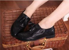 Women's Retro Style Flat Leather Shoes with Tassel on BuyTrends.com, only price $18.75