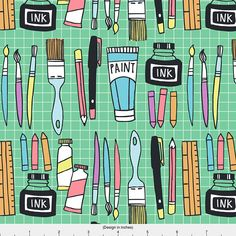 Art Paintbrush Supplies Fabric  Art And Design By Laura May