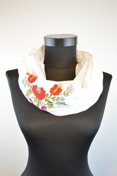 Items similar to Woman infinity scarf - circle scarf - loop scarf - hand embroidered - traditional matyo embroidery - white gauze with red on Etsy Loop Scarf, Circle Scarf, Infinity Scarfs, Womens Scarves, Woman, Trending Outfits, Unique Jewelry, Etsy, Shopping