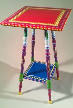 Hand Painted Furniture Vintage Colorful Accent Table. $165.00, via Etsy.