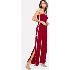 1d29bfe9dfd Bardot Tape Detail Snap-Button Side Wide Leg Jumpsuit (31 AUD) ❤ liked on  Polyvore featuring jumpsuits