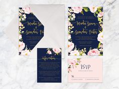 Printable Wedding Invitation Set Rose Pink Navy Gold Pastel Blush Wreath Blue