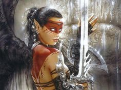 Female fantasy art. Black wings, Angle Warrior, swords, red, black, silver.