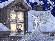 Ashley Stewart illustration from 'The Snow Queen' by Hans Christian Andersen, Snow White Queen, Snow Queen, Ice Queen, Winter Illustration, Illustration Art, Queen Drawing, Snow Maiden, Snow Fairy, Fairytale Art