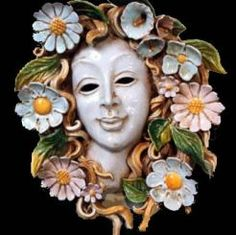 "4-SEASON - SPRING CERAMIC MASK (WALL DECOR): 14"" (35cm) Diameter.    The ceramic masks made for SABBIA TALENTI are completely hand-made in Florence Italy and the gorgeous fruit surrounding each mask is painstakingly hand-applied."