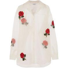 Ashish Embellished appliquéd silk-organza shirt (5.825 RON) ❤ liked on Polyvore featuring tops, blouses, shirts, blusas, white, rose shirt, embellished top, oversized white blouse, mirror shirt and oversized white shirt
