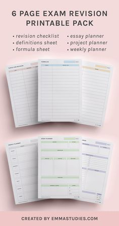 Exam revision study printable by Emmastudies