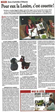 #Economie - Zoom sur la société Homéo Textiles, installée récemment en #Lozère
