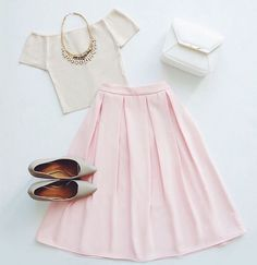 So Pretty Light Pink Midi Skirt - Trendslove