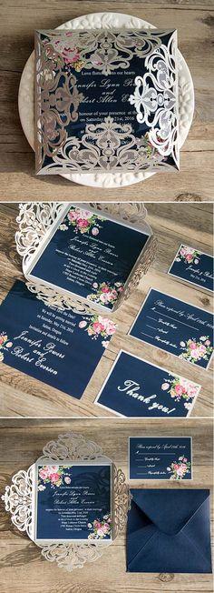 navy blue floral silver laser cut invitations EWWS090