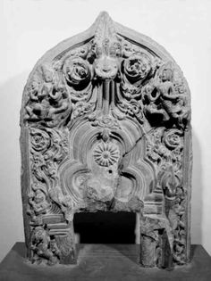 fragment of stele of Uma-Mahesvara, Hemtabad, black stone, H. ca. 27in. State Archaeological Museum of Bengal, Calcutta