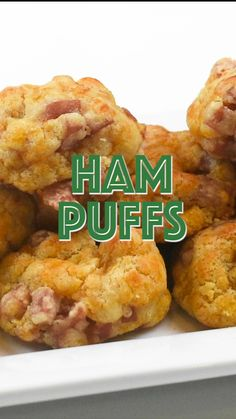 Ham and Cheese Puffs - CRAZY good! SO simple to make and they taste amazing! Only 5 ingredients - butter, cheddar cheese, ham, Worcestershire and flour. These things fly off the plate at parties. You will want to double the recipe! A great alternative Quick Appetizers, Finger Food Appetizers, Appetizers For Party, Appetizer Recipes, Snack Recipes, Cooking Recipes, Seafood Appetizers, Finger Foods, Dinner Recipes