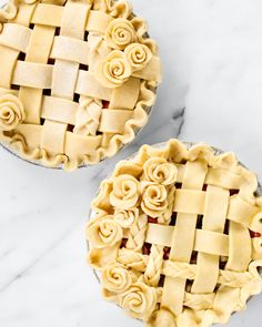 First making extra pie dough, we're beginning with a basic lattice pie crust and showing you four easy ways to make it more beautiful. Tart Cherry Pies, Beautiful Pie Crusts, Apple Pie Crust, Lattice Pie Crust, Pie Crust Designs, Pie Decoration, Pastry Design, Pie Cutter, Pie Tops
