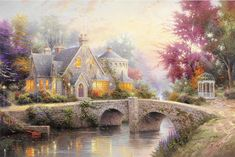 """Many Designer Thomas Oil Painting Home Decoration Paintings Wall Art Bedroom Living Room Canvas Painting Unframed"" Living Room Canvas Painting, Canvas Wall Art, Thomas Kinkade Art, Thomas Kinkade Puzzles, Pictures Of Crystals, Kinkade Paintings, Oil Paintings, Cottage Art, Spring Landscape"