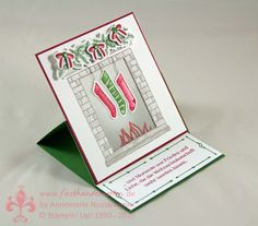 handmade Christmas card from First Hand Emotion ... easel card format ... fireplace back in vellum ... tea light fits ins side to make a nice glow ... Stampin' Up!