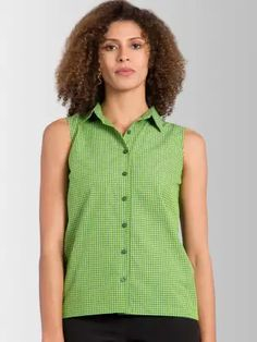 FableStreet Women Green Tailored Fit Checked Casual Shirt