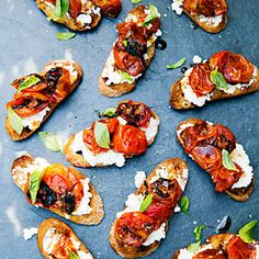 5-Ingredient Recipes for the Grill | Caramelized Tomato Bruschetta | MyRecipes.com