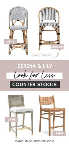 Serena & Lily's coastal style counter stools are gorgeous, but some of them are pretty pricey. Here you'll find Serena & Lily counter stools: Look for Less dupes for three of the most popular stools. Find your favorite for less!